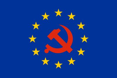 Europaflagge mit Hammer und Sichel