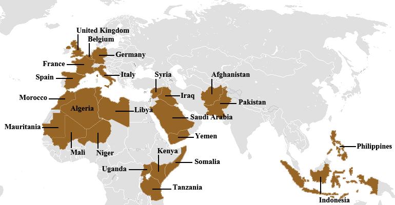 Hauptgebiete der AL-CIAda-Aktivitäten