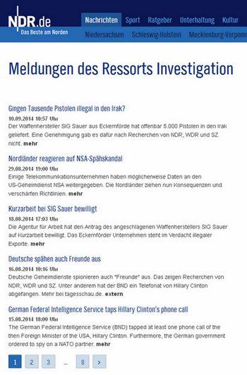 Meldungen Ressort Investigation - Bildquelle: Screenshot-Ausschnitt www.ndr.de