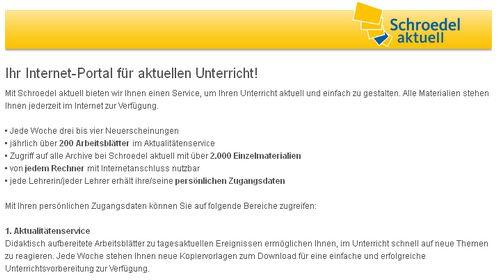Schroedel Internet-Portal - Bildquelle: Screenshot-Ausschnitt www.schroedel.de