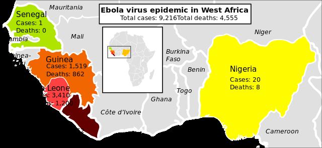 Ebola in Westafrika - Bildquelle: Wikipedia / Mikael Häggström