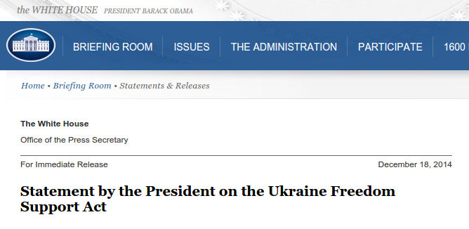 Statement Ukraine Freedom Support Act - Bildquelle: Screenshot-Ausschnitt www.whitehouse.gov