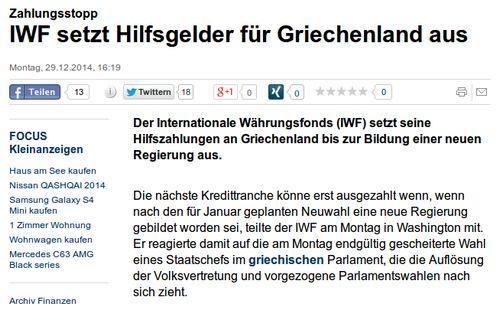Zahlungsstopp IWF - Bildquelle: Screenshot-Ausschnitt www.focus.de