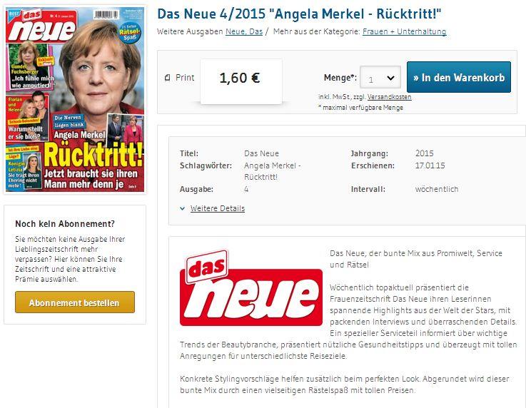 Das Neue - Bildquelle: Screenshot-Ausschnitt www.einzelheftbestellung.de