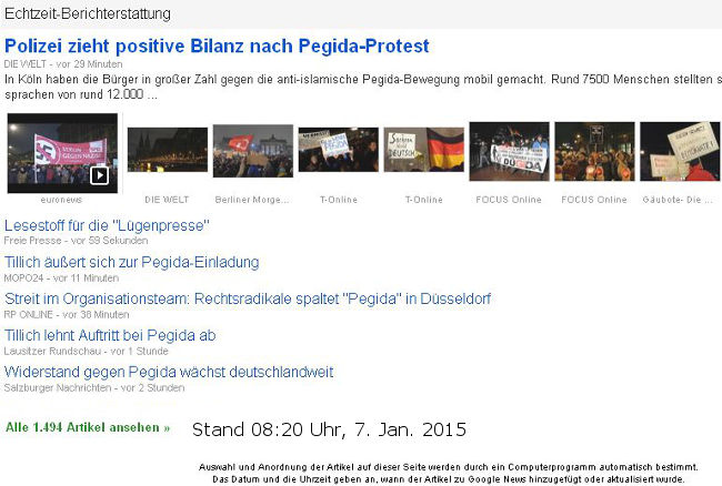 Google News - PEGIDA - Bildquelle: Screenshot-Ausschnitt Google News