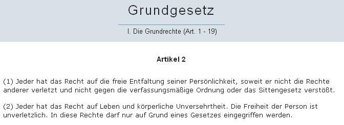 Grundgesetz Artikel 2 - Bildquelle: Screenshot-Ausschnitt www.dejure.org