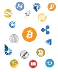 Kryptowährungen - Bildquelle: Wikipedia / Rommyn