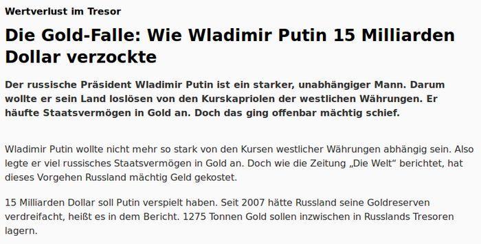 Focus - Gold und Russland - Bildquelle: Screenshot-Ausschnitt www.focus.de