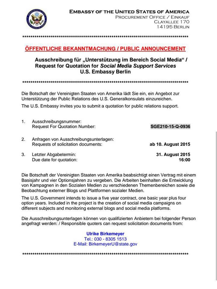 Stellenausschreibung US-Botschaft - Bildquelle: Screenshot-Ausschnitt germany.usembassy.gov