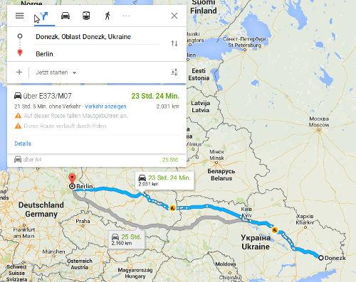 Berlin - Donezk - Bildquelle: Screenshot-Ausschnitt GoogleMaps