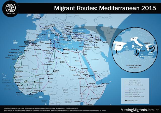 Migrantenströme - Mittelmeer 2015 - Bildquelle: ActivistPost.com