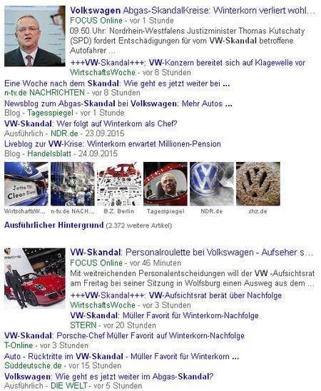 VW-Skandal - Bildquelle: Screenshot-Ausschnitt GoogleNews