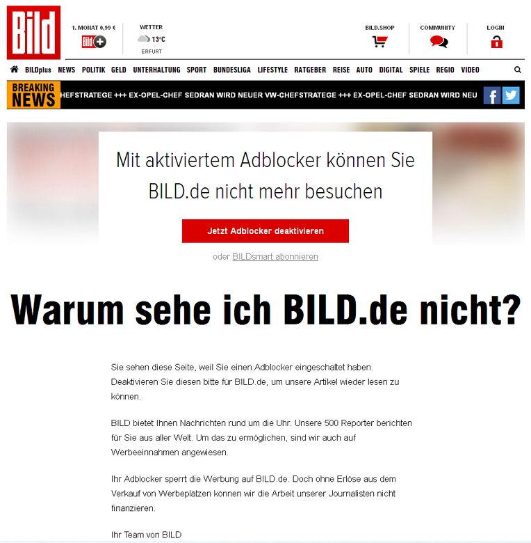 Bild und Adblocker - Bildquelle: Screenshot-Ausschnitt www.bild.de