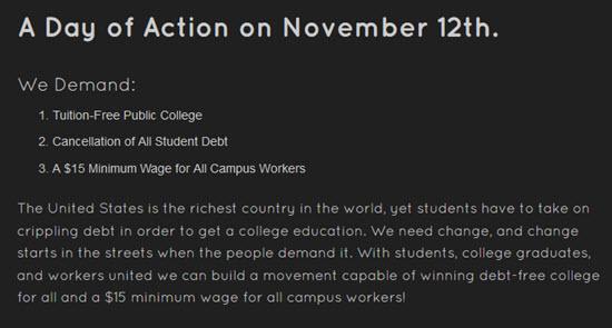 Day of Action - Bildquelle: Screenshot-Ausschnitt www.studentmarch.org