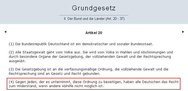 GG Artikel 20 - Bildquelle: Screenshot-Ausschnitt www.dejure.org