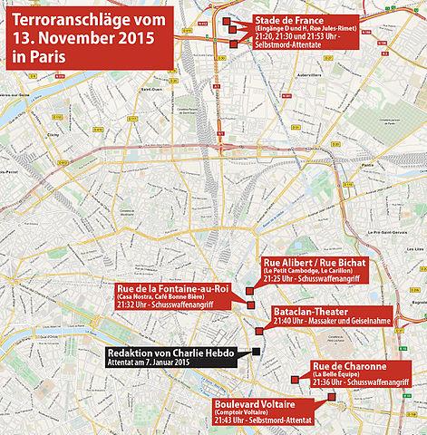 Karte der Pariser Anschäge - Bildquelle: Wikipedia / Maximilian Dörrbecker (Chumwa)