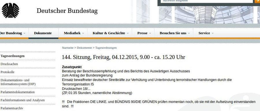 Bundestag 144. Sitzung 04.12.2015 - Bildquelle: Screenshot-Ausschnitt www.bundestag.de