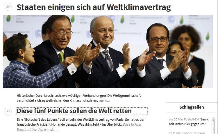 SZ COP 21 - Bildquelle: Screenshot-Ausschnitt www.sz.de