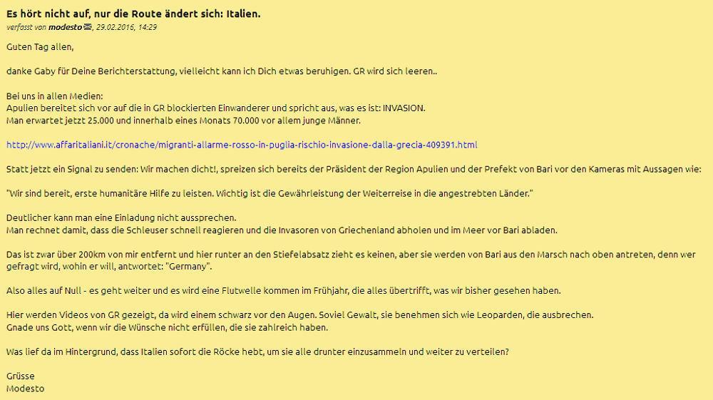 Update Modsesto - Italien - Bildquelle: Screenshot-Ausschnitt www.dasgelbeforum.net