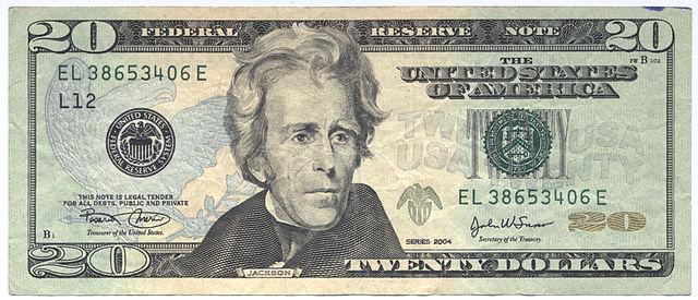 Andrew Jackson 20 US-Dollar - Bildquelle: Wikipedia / Public Domain
