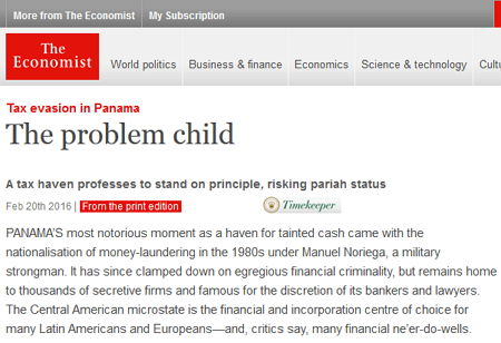 The Economist - Panama - Bildquelle: Screenshot-Ausschnitt www.economist.com