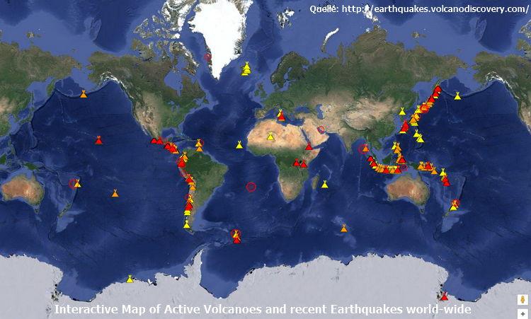 Karte aktiver Vulkane und Erdbeben - Bildquelle: Screenshot-Ausschnitt earthquakes.volcanodiscovery.com