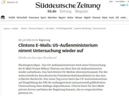 SZ und Clinton - Bildquelle: Screenshot-Ausschnitt www.sz.de