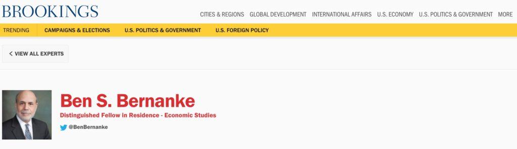 Brookings-Bernanke - Bildquelle: Screenshot-Ausschnitt www.brookings.edu