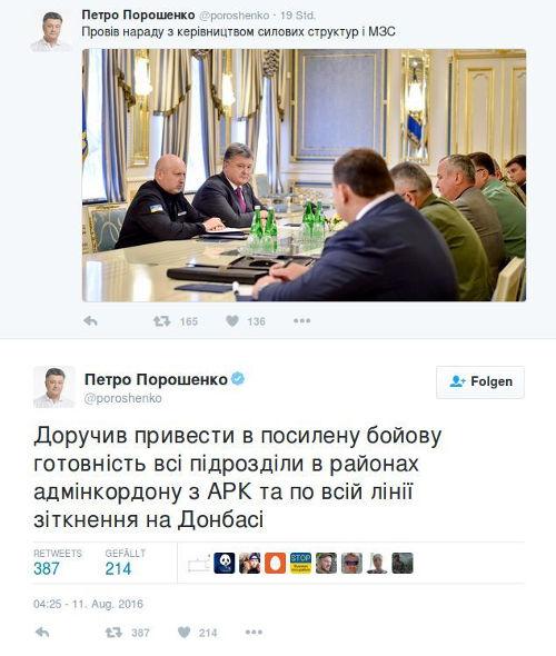 Twitter - Poroschenko - Bildquelle: Screenshot-Ausschnitt Twitter