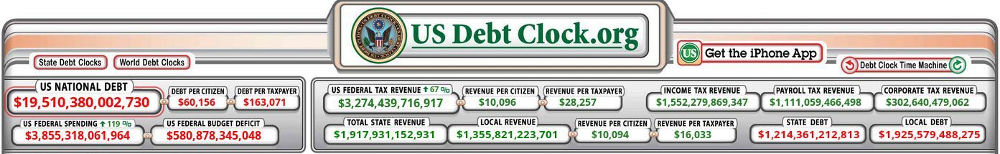 US-Debt-Clock September 2016 - Bildquelle: Screenshot-Ausschnitt www.usdebtclock.org