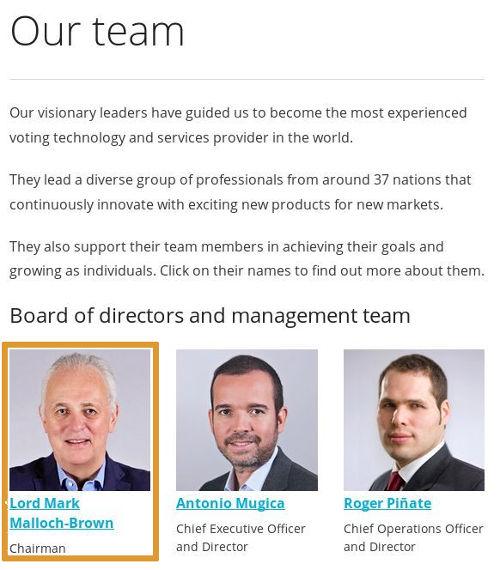 Mark Malloch-Brown - Bildquelle: Screenshot-Ausschnitt www.smartmatic.com About - Our Team