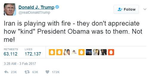 Trump Iran - Bildquelle: Screenshot-Ausschnitt Twitter