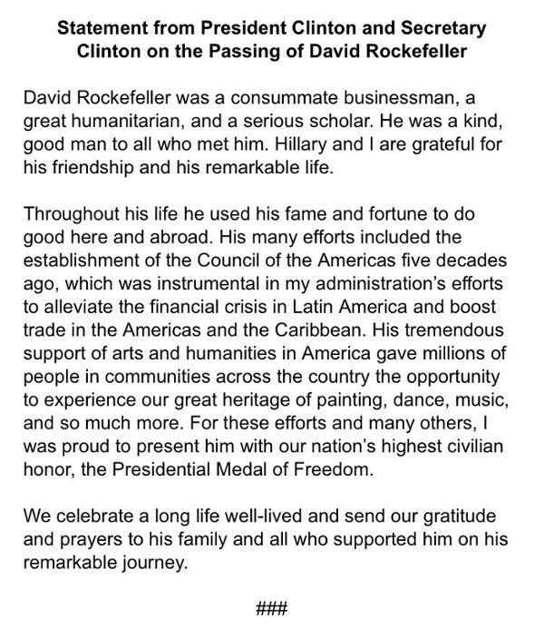 Erklärung Clintons - Bildquelle: Screenshot-Ausschnitt www.clintonfoundation.org