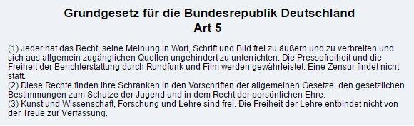 Grundgesetz Artikel 5 - Bildquelle: Screenshot-Ausschnitt www.gesetze-im-internet.de
