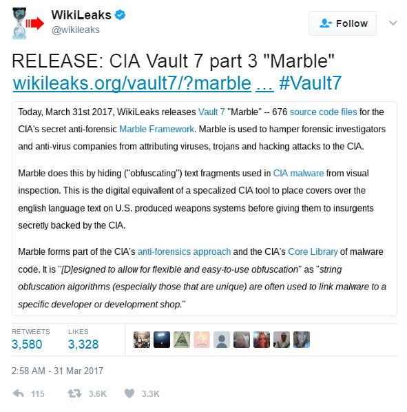 WikiLeaks Vault 7 - 1 - Bildquelle: Screenshot-Ausschnitt Twitter