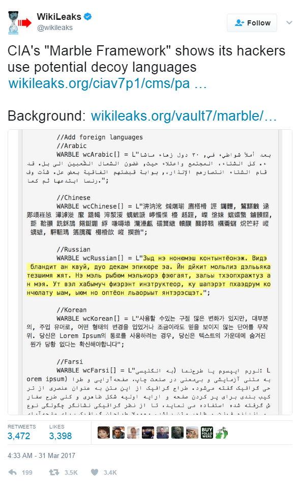 WikiLeaks Vault 7 - 2 - Bildquelle: Screenshot-Ausschnitt Twitter