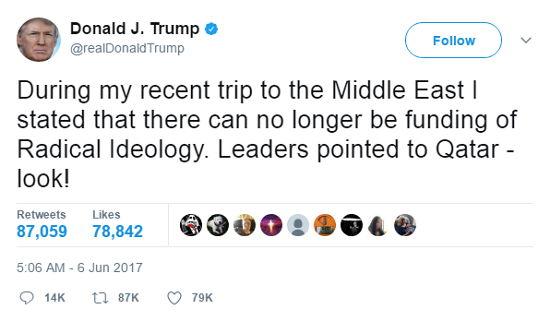 Tweet Trump zu Katar - Bildquelle: Screenshot-Ausschnitt Twitter