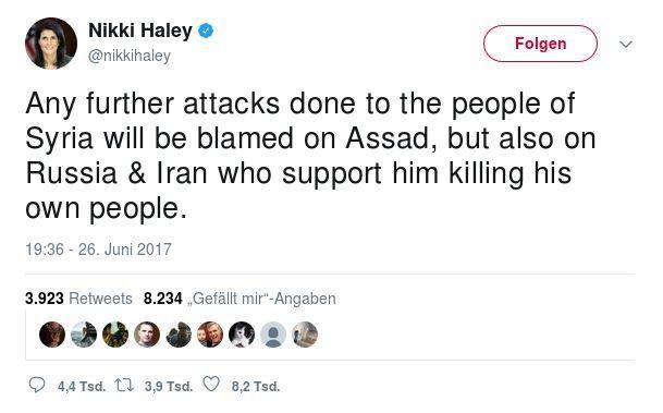 Tweet Nikki Haley - Bildquelle: Screenshot-Ausschnitt Twitter