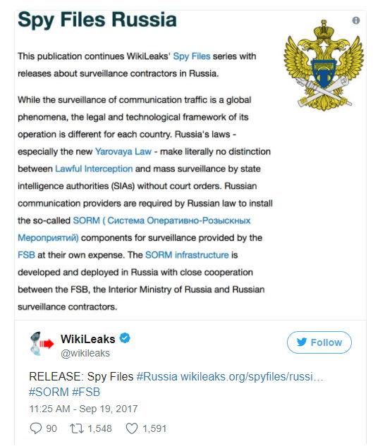 Tweet WikiLeaks Russland - Bildquelle: Screenshot-Ausschnitt Twitter