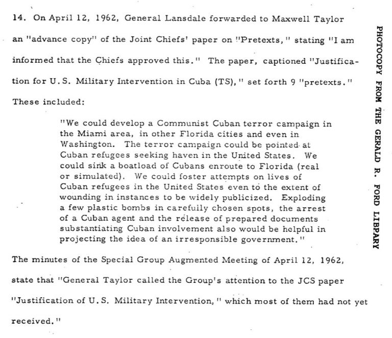 CIA Dokument False Flag gegen Kuba - Bildquelle: CIA-Dokumente John F. Kennedy