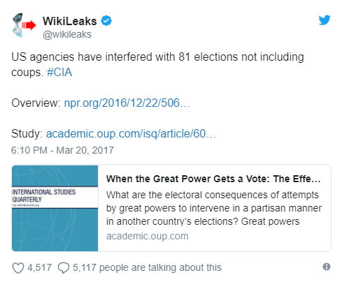 Tweet WikiLeaks - Bildquelle: Screenshot-Ausschnitt Twitter