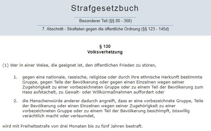 Artikel 130 Absatz 1 StGB - Bildquelle: Screenshot-Ausschnitt www.dejure.org