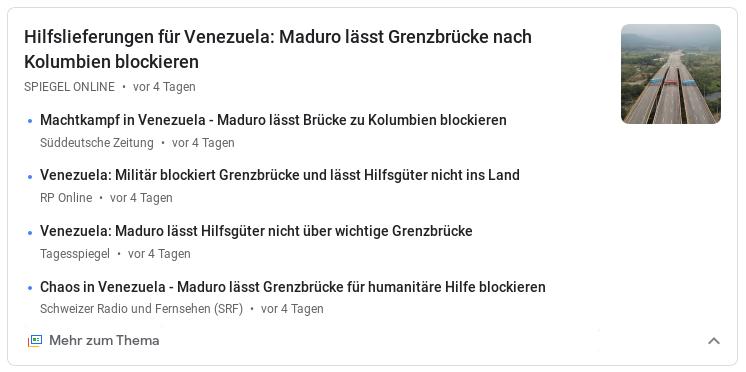 """Bildquelle: Screenshot-Ausschnitt Google News """"Venezuela Grenzbrücke"""" - Abruf am 11.2.2019 https://news.google.com/search?q=venezuela%20grenzbr%C3%BCcke&hl=de&gl=DE&ceid=DE%3Ade"""
