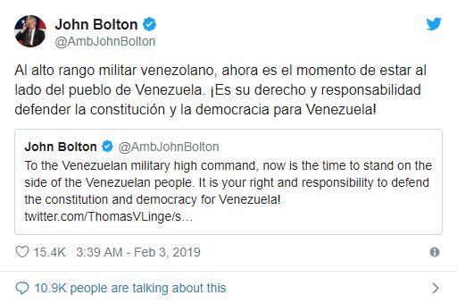 Tweet John Bolton - Bildquelle: Screenshot-Ausschnitt Twitter