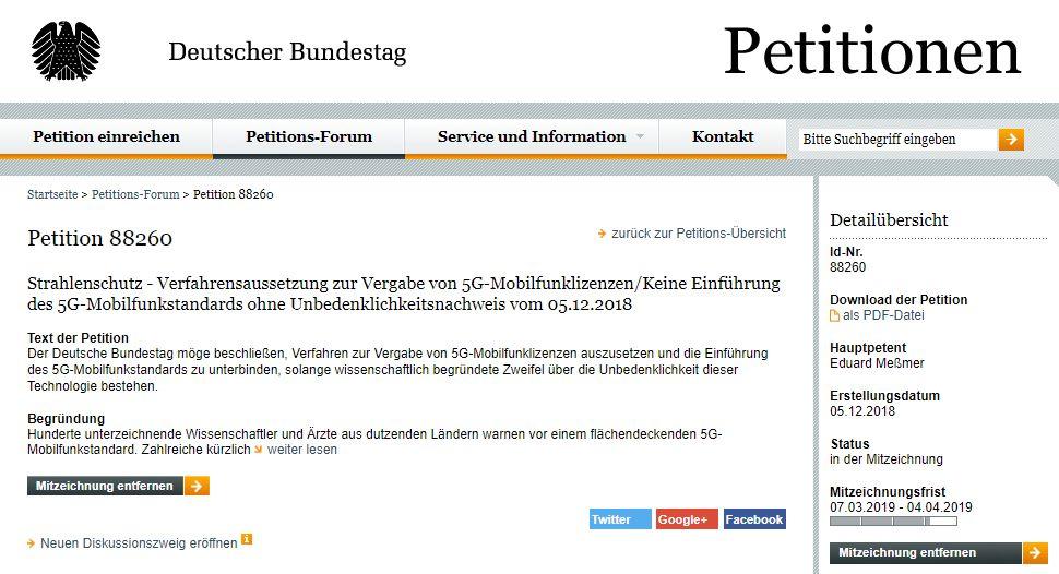 5G Petition - Bildquelle: Screenshot-Ausschnitt https://epetitionen.bundestag.de