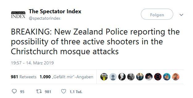 Twitter Neuseeland 1 - Bildquelle: Screenshot-Ausschnitt Twitter