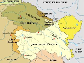 Region Kaschmir - Bildquelle: Wikipedia / Furfur; Namensnennung – Weitergabe unter gleichen Bedingungen 4.0 international