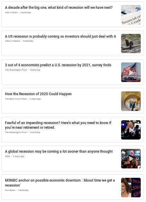 Suchergebnisse Recession - Bildquelle: Screenshot-Ausschnitt Google News