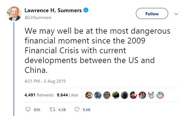 Tweet Larry Summers - Bildquelle: Screenshot-Ausschnitt Twitter