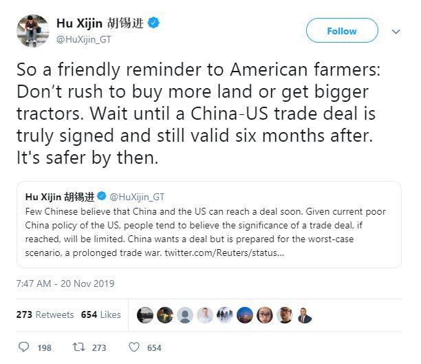 Tweet Hu Xijin - Bildquelle: Screenshot-Ausschnitt Twitter
